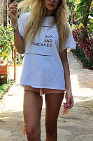 Crew Neck  Letters Casual T-Shirts