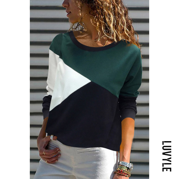 Green Casual Contrast Color Long Sleeve T-Shirt Green Casual Contrast Color Long Sleeve T-Shirt