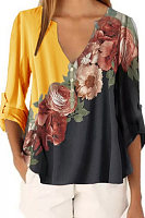 Fashion - V-neck floral print long sleeve blouse chiffon shirt