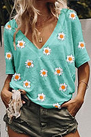 V Neck Short Sleeve Daisy Printed T-shirt