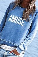 Letters Round Neck Sweatshirt