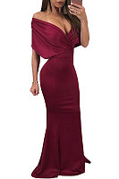 Deep V Neck Open Shoulder  Zipper  Plain Party Dresses
