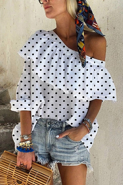 Casual Off-The-Shoulder Ruffled Long-Sleeved Polka Dot Shirt