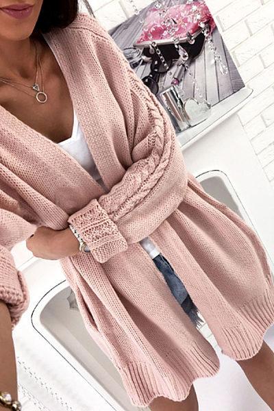 Plain Knit Batwing Sleeve Cardigans