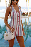 Halter  Backless  Stripes Casual Playsuits