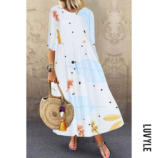 Casual Round Neck Print Dress