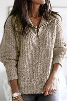 Brief Pure Color Long Sleeve Metal Zipper Sweater