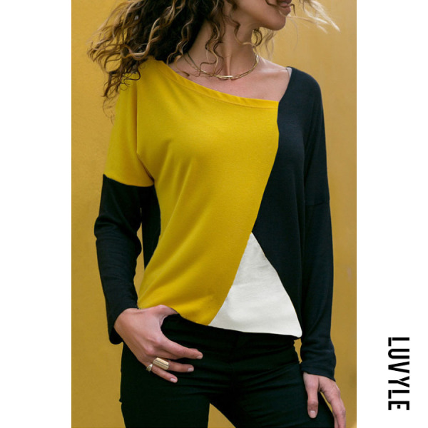 Yellow Round Neck Color Block T-Shirts Yellow Round Neck Color Block T-Shirts