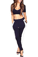 Scoop Neck  Exposed Navel Two-Piece Outfits