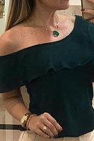 Asymmetrical Collar Ruffles Elegant Blouses
