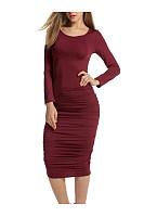 Round Neck Plain Ruched Midi Bodycon Dress