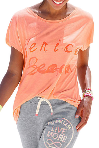 Round Neck  Slit  Letters T-Shirts