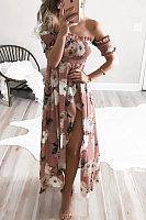Off Shoulder  Asymmetric Hem High Slit  Floral Printed  Short Sleeve Maxi Dresses