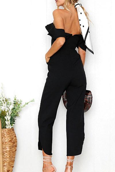 Open Shoulder  Asymmetric Hem  Plain  Extra Short Sleeve Jumpsuits & Playsuits