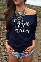 Scoop Neck  Letters T-Shirts