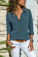 Casual Long Sleeve Plain Button Pocket Blouses
