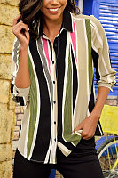 A Lapel Color Block Striped Blouse