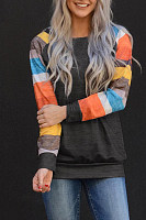 Round  Neck  Regular  Casual  Colouring  Long Sleeve T-Shirts
