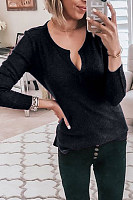 Round  Neck  Regular  Brief  Long Sleeve Sweaters