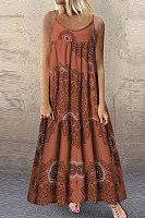 Loose strap dress with ethnic print