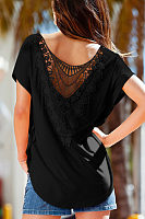 Round Neck  Asymmetric Hem Backless  Plain T-Shirts