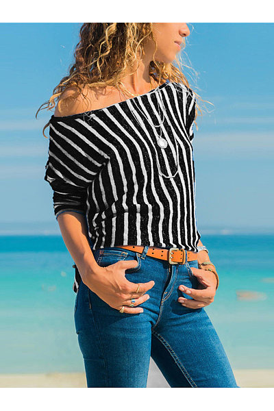 Sexy Off Shoulder Strip Casual T-Shirts