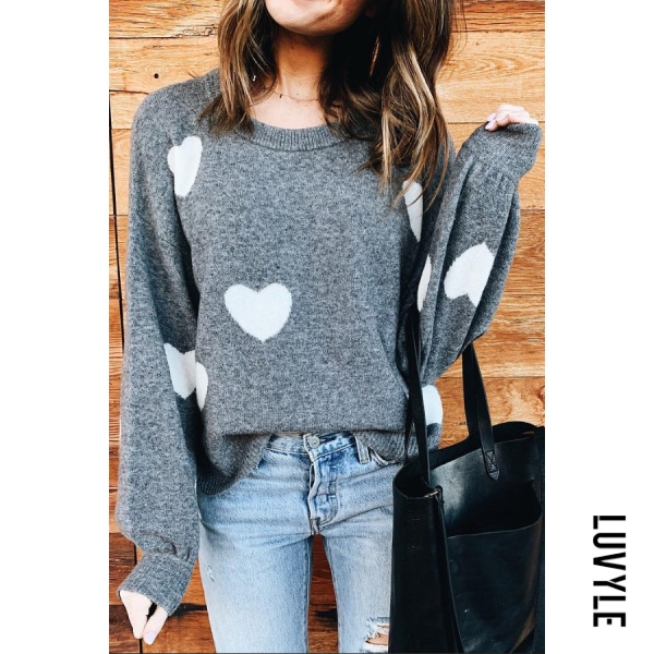 Round Neck Heart Casual Sweater - from $28.00