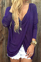Deep V Neck  Asymmetric Hem  Plain  Batwing Sleeve T-Shirts