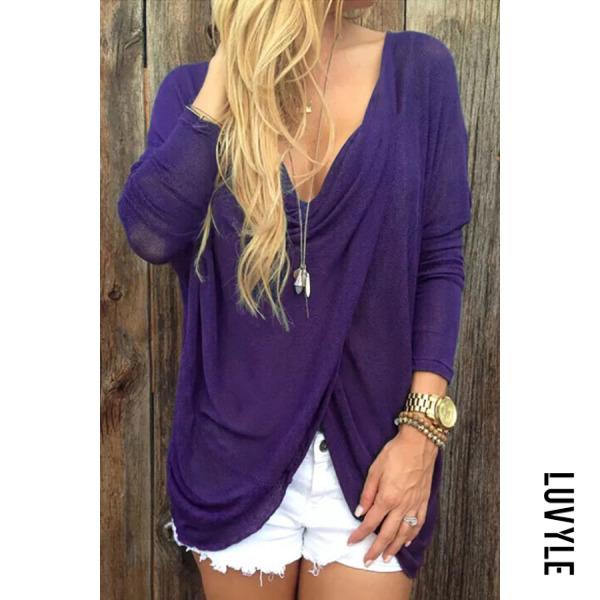 Purple Deep V Neck Asymmetric Hem Plain Batwing Sleeve T-Shirts Purple Deep V Neck Asymmetric Hem Plain Batwing Sleeve T-Shirts