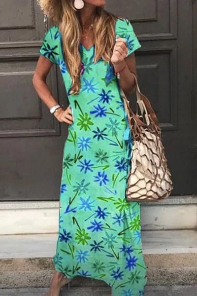 2020 Summer V-neck Printed Maxi Dress