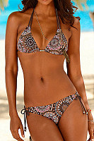 Spaghetti Strap  Backless  Floral Bikini