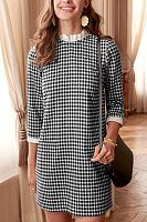 Crew Neck  Gingham  Long Sleeve Casual Dresses