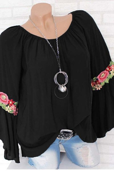 Word Collar Long Sleeve Floral Blouse