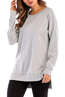 Round Neck  Asymmetric Hem Side Slit  Plain T-Shirts
