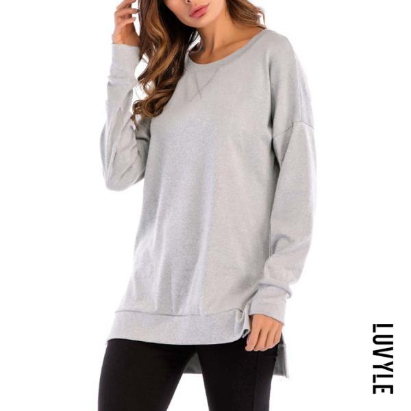 Light Gray Round Neck Asymmetric Hem Side Slit Plain T-Shirts Light Gray Round Neck Asymmetric Hem Side Slit Plain T-Shirts