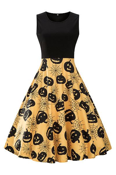 Halloween Pumpkin Spider-Web Printed Midi Skater Dress
