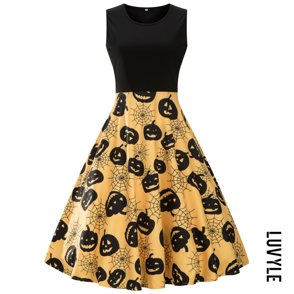 Yellow Halloween Pumpkin Spider-Web Printed Midi Skater Dress Yellow Halloween Pumpkin Spider-Web Printed Midi Skater Dress