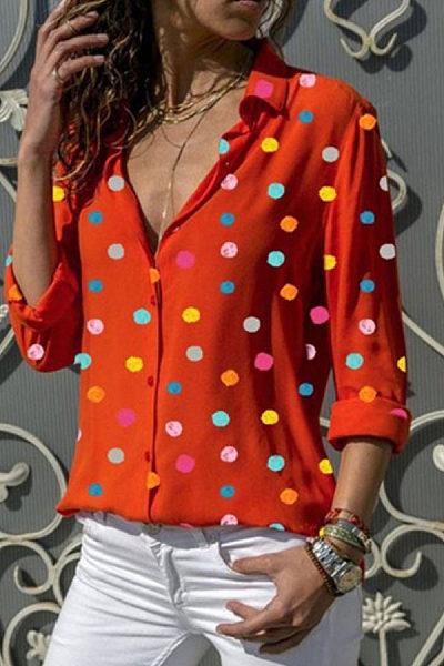 Fold Over Collar Dot Blouses