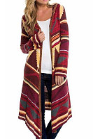 Basic Hooded  Abstract Print Cardigans