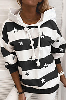 Casual Striped Star Print Sweatshirt