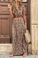Plus Size V Neck Print Short Sleeve Split Maxi Dress