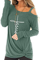 Single Shoulder Collar  Patchwork  Casual  Letters  Long Sleeve  T-Shirt