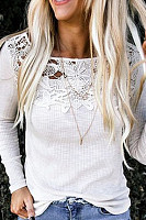 Round Neck Long Sleeve Plain Decorative Lace T-Shirt