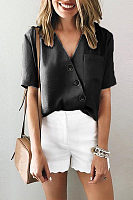 Fashion Pure Color V Neck Short Sleeves Irregular Shirt