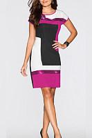 Round Neck  Sequin  Glitter  Color Block  Short Sleeve Bodycon Dresses