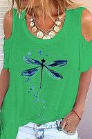 Open Shoulder Collar Dragonfly T-shirt