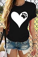 Round neck love print top T-shirt