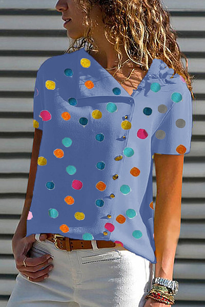 Medium  Casual  Printed  Short Sleeve Blouses