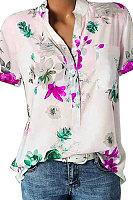 Floral Print V-Neck Short Sleeve Blouse