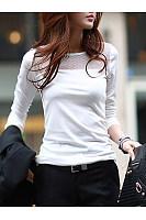 Round Neck See-Through Plain Long Sleeve T-Shirt